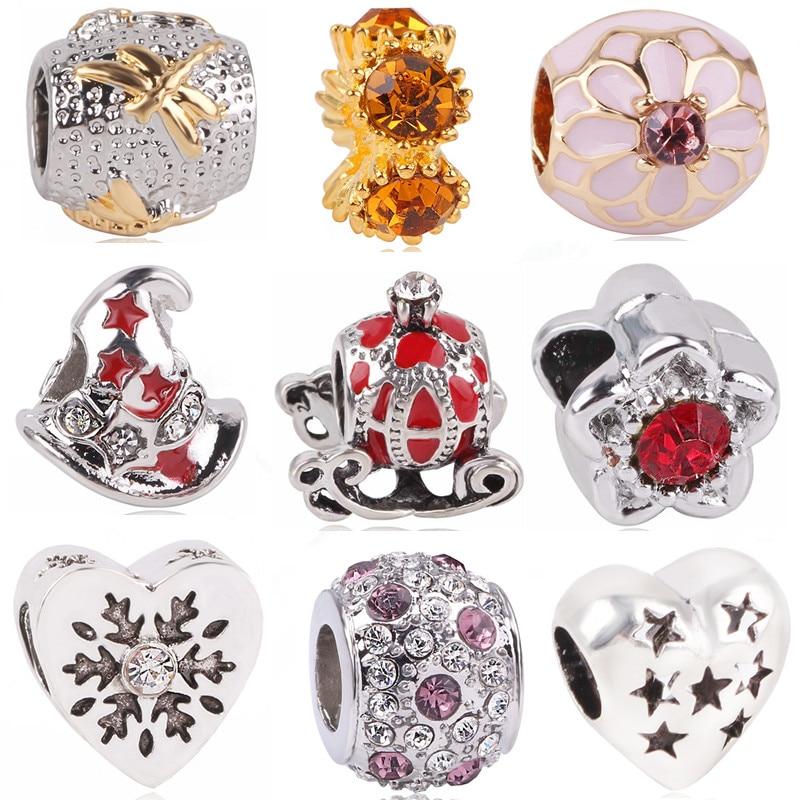Ranqin 2018 Original DIY Pumpkin Car Witch Hat Crystal Sun Flower Snowflake Bead Fit Pandora Charms Bracelets DIY Women Jewerly