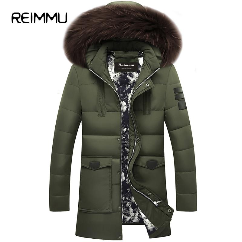 Reimmu Duck Down Jacket Men 2017 New Fashion Brand High Quality Long Parka Men Winter Casual Men Cheap Down Jacket Fur Coll Coat