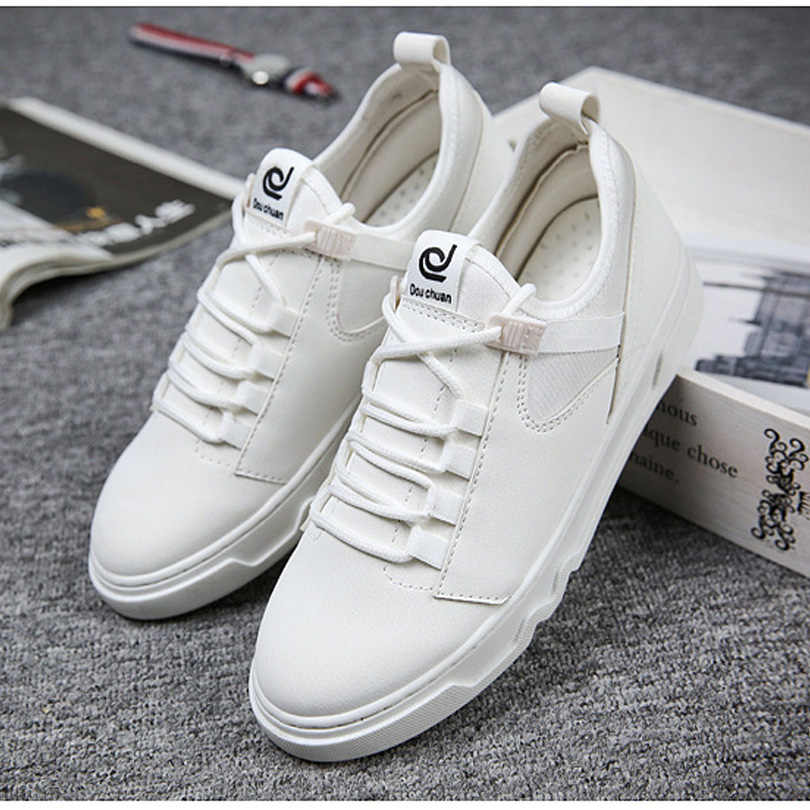 f6694d4e59 BINHIIRO Casual Shoes Men Spring Autumn Breathable PU Lace-Up Solid White  Black Red Basic