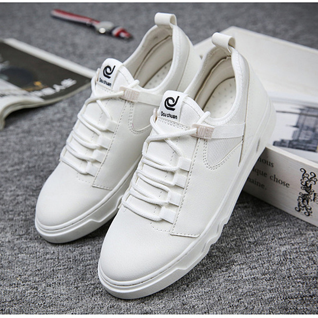 BINHIIRO Casual Shoes Men Spring Autumn Breathable PU Lace-Up Solid White Black Red Basic Low To Help Fashion Men Casual Shoes