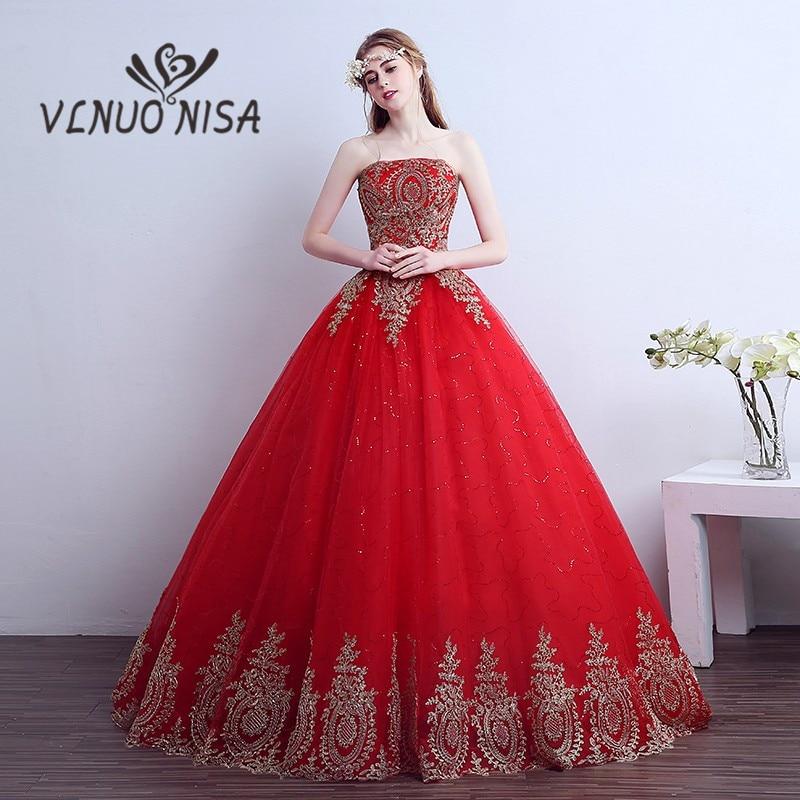Vintage Wedding Dresses Red: New 2018 Vintage Lace Gold Appliques Red Wedding Dresses