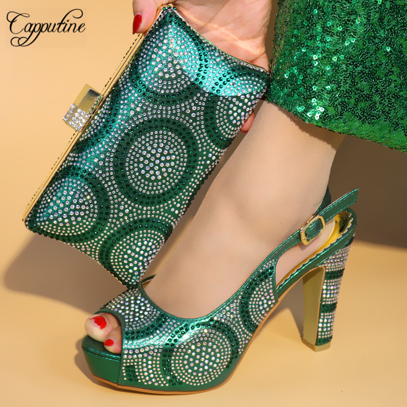 Capputine 2018 Italian Rhineston Green Color Woman Shoes And Bag Set African High Heels Shoes And Bag Set Wedding Size 38-42 capputine italian fashion design woman shoes and bag set european rhinestone high heels shoes and bag set for wedding dress g40