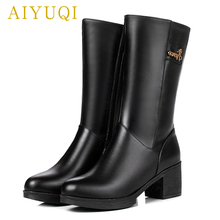 все цены на AIYUQI women's winter boots 2019 new genuine leather women martin boots high-heeled thick warm wool snow boots women shoes онлайн