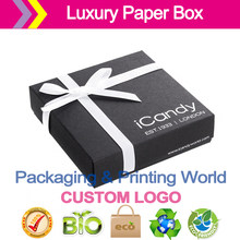 LUXURY UNCOATED carrying cases BLACK CARD BOX WITH WHITE RIBBON for Jewelry(China)