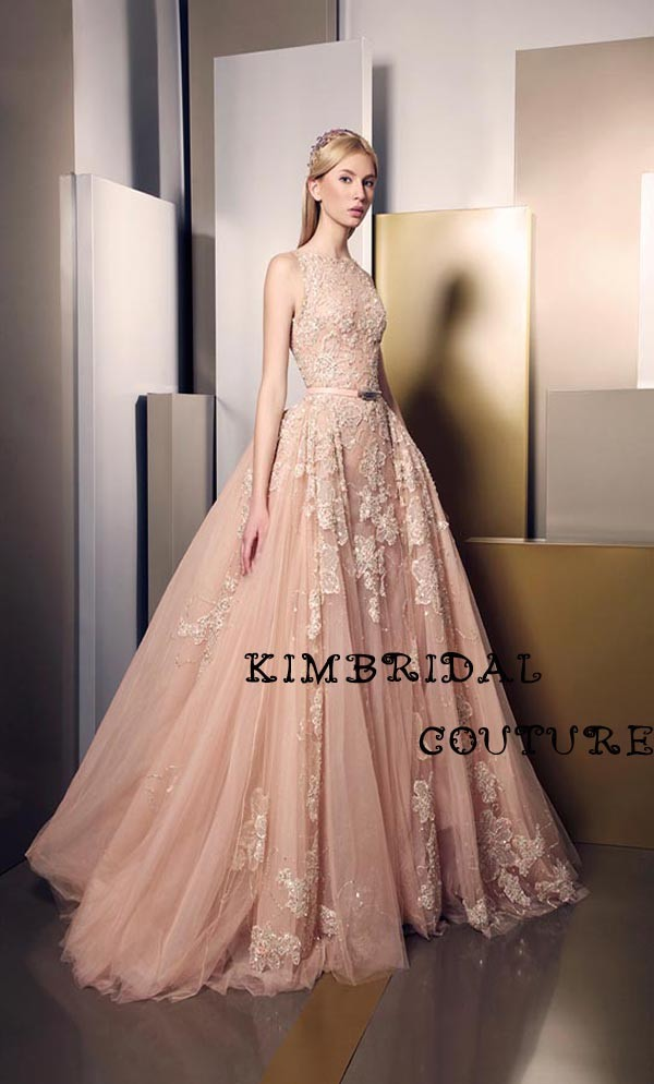 Arab Evening Gowns Baru Lantai Panjang Dresses Sheer Tulle Renda Appliques Beading Ball Gown Champagne Prom Dresses Ziad Nakad