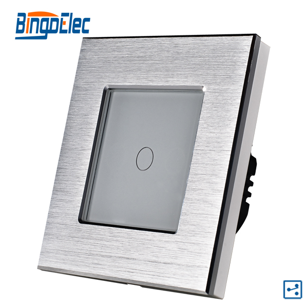 1gang 2way touch light switch,silver aluminum and glass panel smart  switch, EU/UK standard AC110-240V,Hot Sale makegood uk standard 2 gang 1 way smart touch switch crystal glass panel wall switch ac 110 250v 1000w for light led indicator