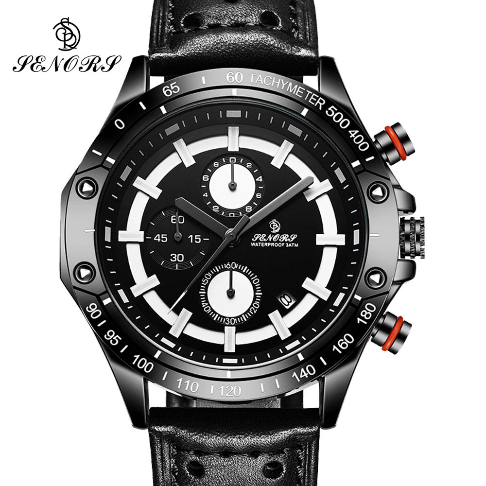 New Pilot Mens Chronograph Wrist Watch Waterproof Date Top Luxury Brand Casual Leather Diver Males Geneva Quartz Clock 2017 new chenxi brand dial male clock hours hand date black leather straps mens quartz wrist watch 3atm waterproof wristwatches man