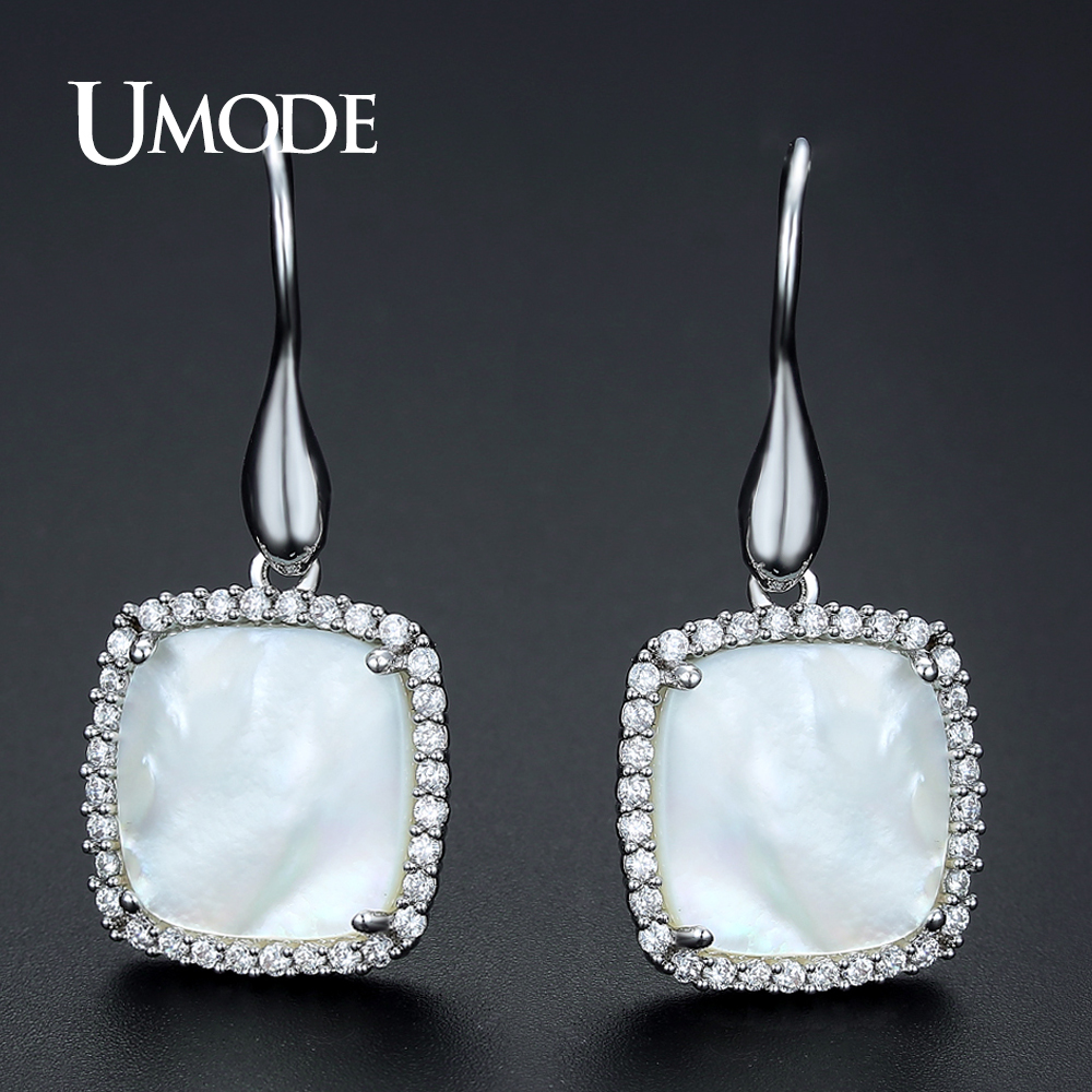 UMODE Brand New Shell Square Drop Earrings for Women Fashion Jewelry Silver Color Ear Hook Earring Boucle D'Oreille Femme UE0344 free shipping 5pc lot 3 pin on off on 3 position cqc rohs silver point flat handle rc transmitter ac 6a 125v