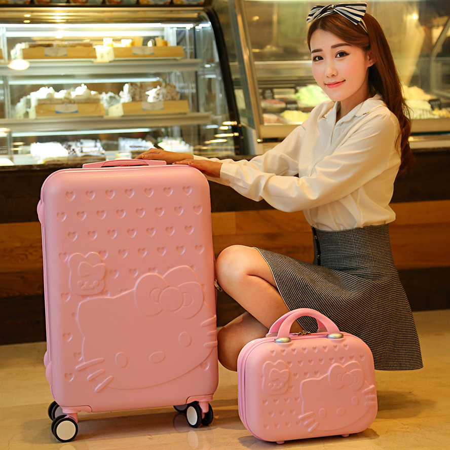 Wholesale pink green purple red cartoon child travel bag luggage 14 24 universal wheels trolley luggage of the box sets