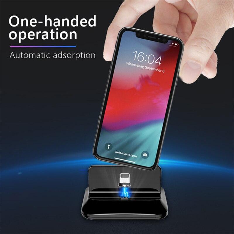 MOOJECAL Magnetische Telefon Halter Schreibtisch Ständer Halter mit Magnetische datenleitung lade Universal für iPhone Andorid Telefon