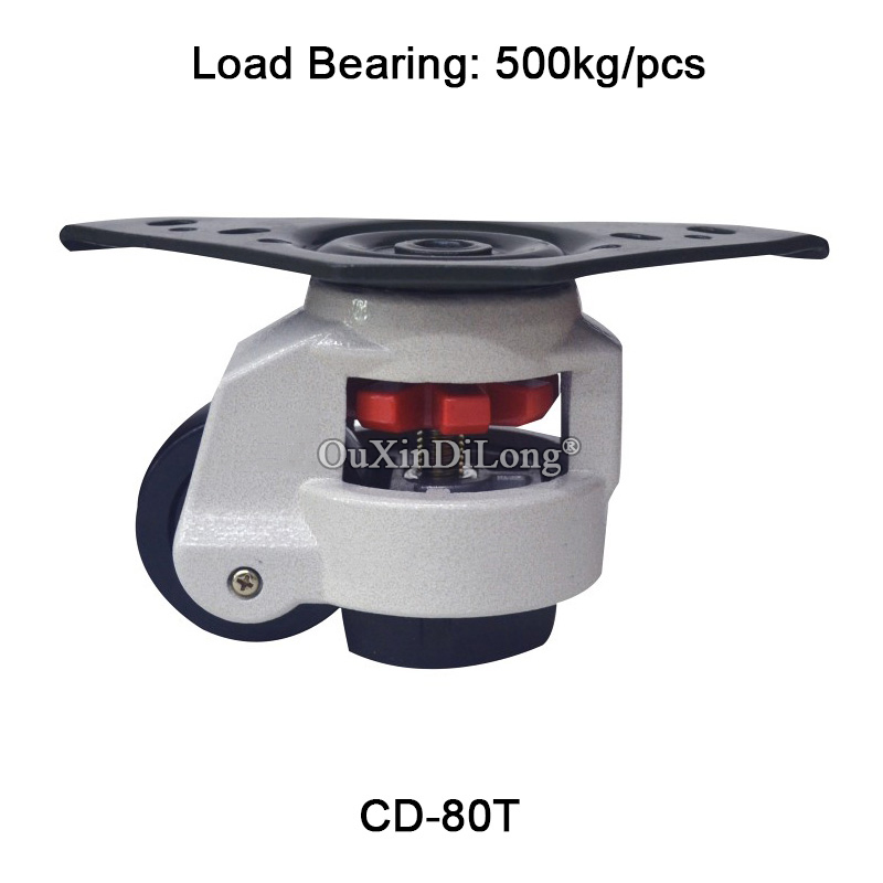 50PCS CD-80T Heavy Duty Level Adjustment Nylon Wheel Industrial Casters for Machine Equipment Casters Wheels Bearing 500KG/PCS new 5 swivel wheels caster m12 industrial castor universal wheel nylon rolling medical heavy casters double bearing wheel
