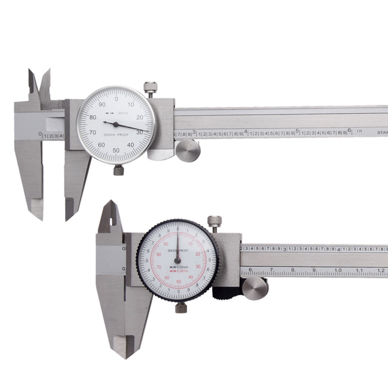 Dial Calipers 6/ 150mm Dual Reading Inch/mm Stainless Steel Ruller Vernier Caliper Gauge Measuring Tools free shipping shahe stainless steel dial calipers watch calipers shockproof with 0 02mm resolution calliper 150mm