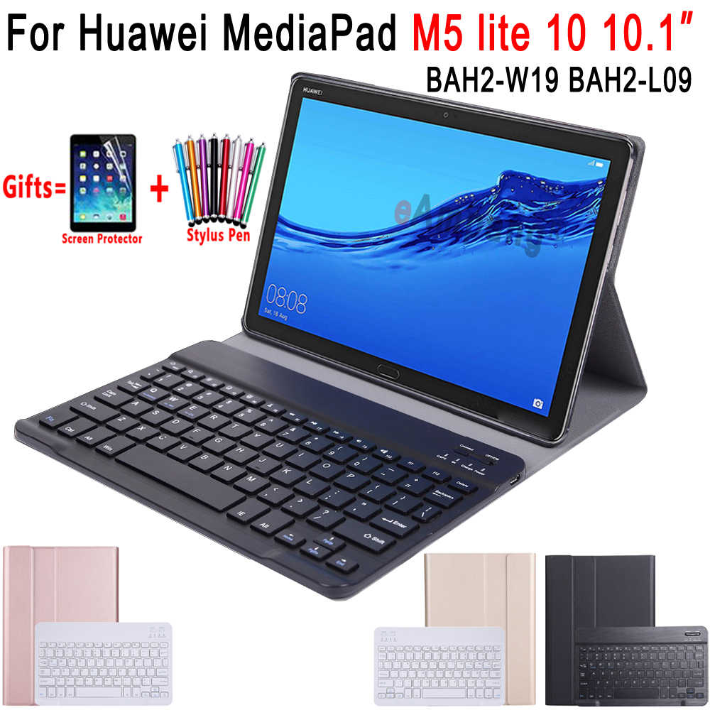 For Huawei Mediapad M5 Lite 10 Keyboard Case 10.1 inch BAH2-W09 BAH2-L09 BAH2-W19 Bluetooth Keyboard Leather Cover Funda Coque