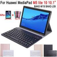 For Huawei Mediapad M5 Lite 10 Keyboard Case 10.1 inch BAH2-W09 BAH2-L09 BAH2-W19 Bluetooth Keyboard Leather Cover Funda Coque
