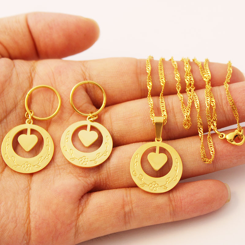 New Zealand Heart Pendant Earrings Necklaces Jewelry Set For Women Gold Color Marshall Guam Hawaii  Birthday Gifts