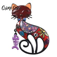 Cring Coco 2019 New Design Charm Brooches Women Mens Enamel Pin Anime Cat with Fish Bone Brooch for Girls Jewelry Hot Sale