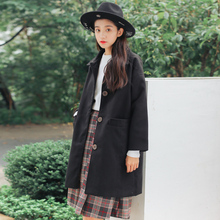 Autumn Winter Retro Single Breasted Woolen Coat Korean Long Design Cashmere Coats Women Black Classic All-match Casual Outerwear
