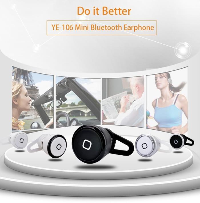 Brand New YE-106 Wireless Bluetooth Headset Earphone Black Super Mini Earphone Ear-hook In-ear Headset  for iPhone Samsung
