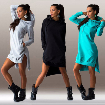 Bigsweety אופנה נשים צמר נים סתיו ברדס סווטשירט צד פיצול הברך אורך ארוך הסווטשרט שמלת נקבה Vestidos חמה