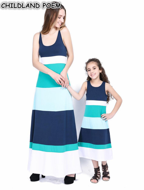 131930bad8 Mother Daughter Dresses Mommy and Me Clothes Summer Family Matching Clothes  Maxi Long Family Look Mom and Daughter Dress Outfits