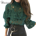 2017 Spring Women Blouse Shirt Tops Women Clothing Lace Blouse Women Sexy Long Sleeve Brand Shirt Blouse Hollow Out New Arrival