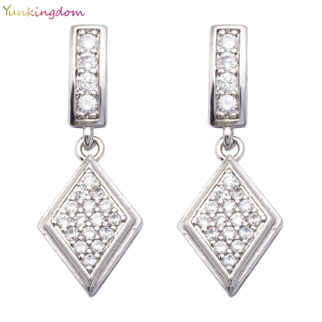 Yunkingdom Geometric Drop Earrings White Cubic Zirconia Gold Color Indian Bride For Women K1419
