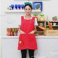 핫 민소매 높은 Qaulity 유치원 옷 주방 앞치마 여성 요리 커피 차 네일 숍 작업복 인쇄 로고