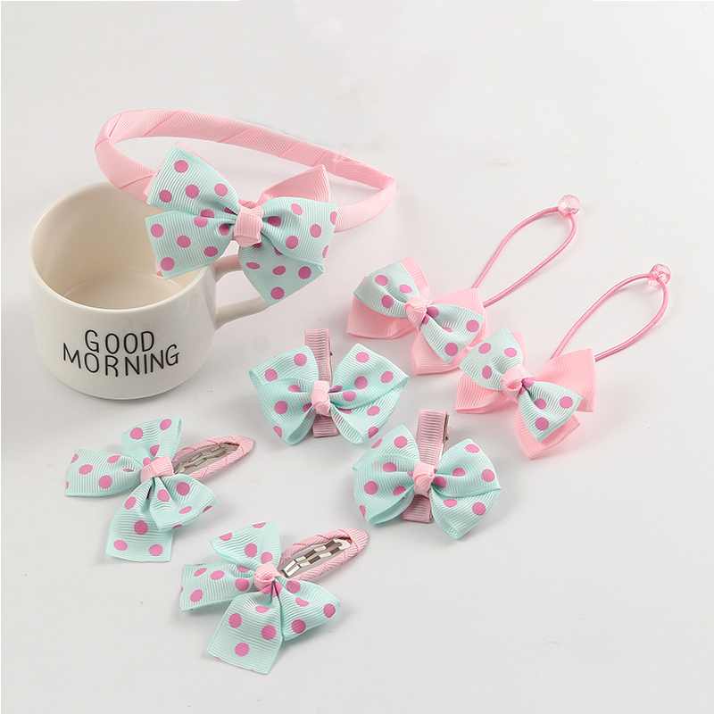 Fashion Baby Hair Claw Dot Bow Girls Headwear Set Hairpins/Hairbands/Elastic Hair Bands 7pcs Hair Clips Kids Hair Accessories 7 fashion boutique grosgrain ribbon organza breast cancer printed cheer bow with elastic hair bands for cheerleading girls