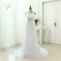 2016 Chinese Hand Made Wedding Dress Chiffon Low Back V Neck Sexy Applique Lace Beach Vestidos