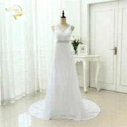 2019 Chinese Hand Made Beading Wedding Dress Chiffon Low Back Sexy Applique Lace Beach Vestidos De Novia Robe De Mariage JL0097 1