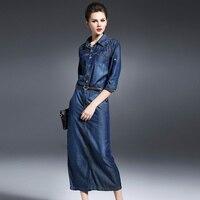 Denim Elbise kadın Giyim Çin Büyük Indirim Satış Sonbahar Rahat Kovboy Mavi Denim Elbiseler Kadın Metal Perçin Ücretsiz Kargo