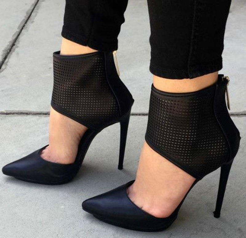 Nice Black Gladiator High heeled Sandals Women Pointed Toe High Heels Hollow Out Grid Shallow Out Sandalias Mujer Women Shoes
