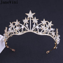 JaneVini Gold/Silver Stars Women Tiaras Headwear Pearl Luxury Rhinestones Beaded Baroque Wedding Party Crowns Bride Headpieces(China)