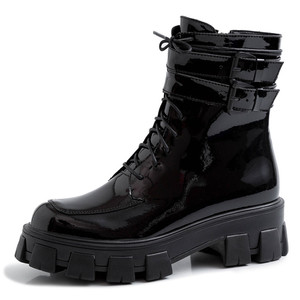 Image 2 - FEDONAS 2020 Winter Warm Punk Cow Patent Leather Women Ankle Boots Lace Up Buckle Short Boots Night Club Party Shoes Woman