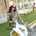 2016 Nueva chaqueta de invierno de Corea mujeres de la manera uniforme de chaqueta de abrigo de invierno abrigo de las mujeres mujeres del algodón parkas chaqueta de invierno de Las Mujeres