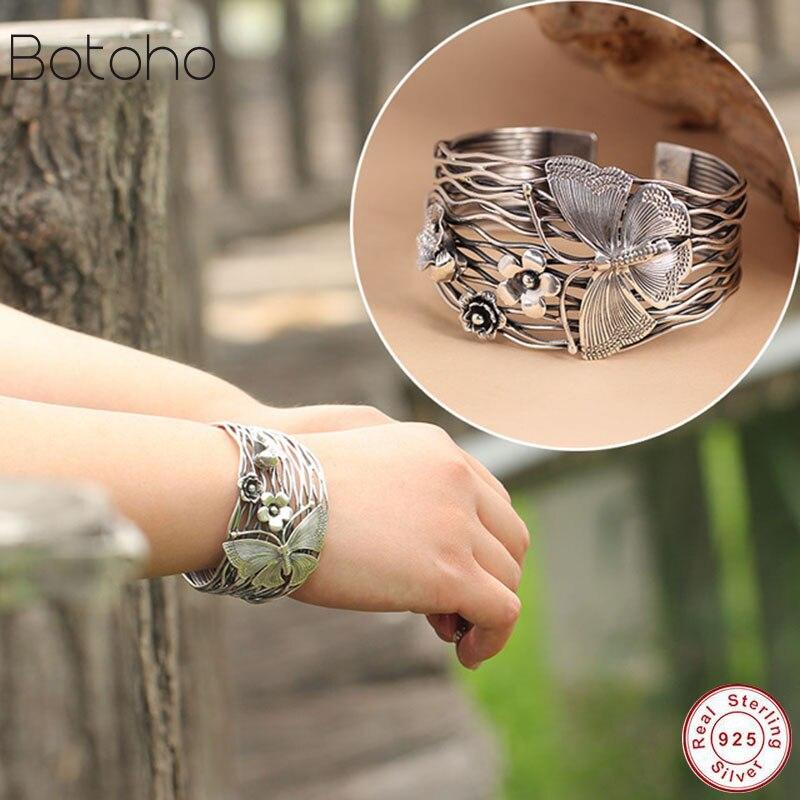 100 Pure 925 Sterling Silver Bracelet Women Wide 40mm