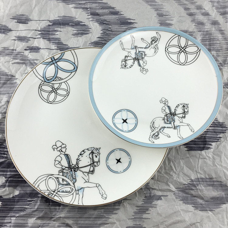 Knight Spirit Blue Simple Tableware Plate Mediterranean Table Soft Decoration Accessories Horse and Man Luxury Dish Hotel Decor-in Bowls \u0026 Plates from Home ... & Knight Spirit Blue Simple Tableware Plate Mediterranean Table Soft ...