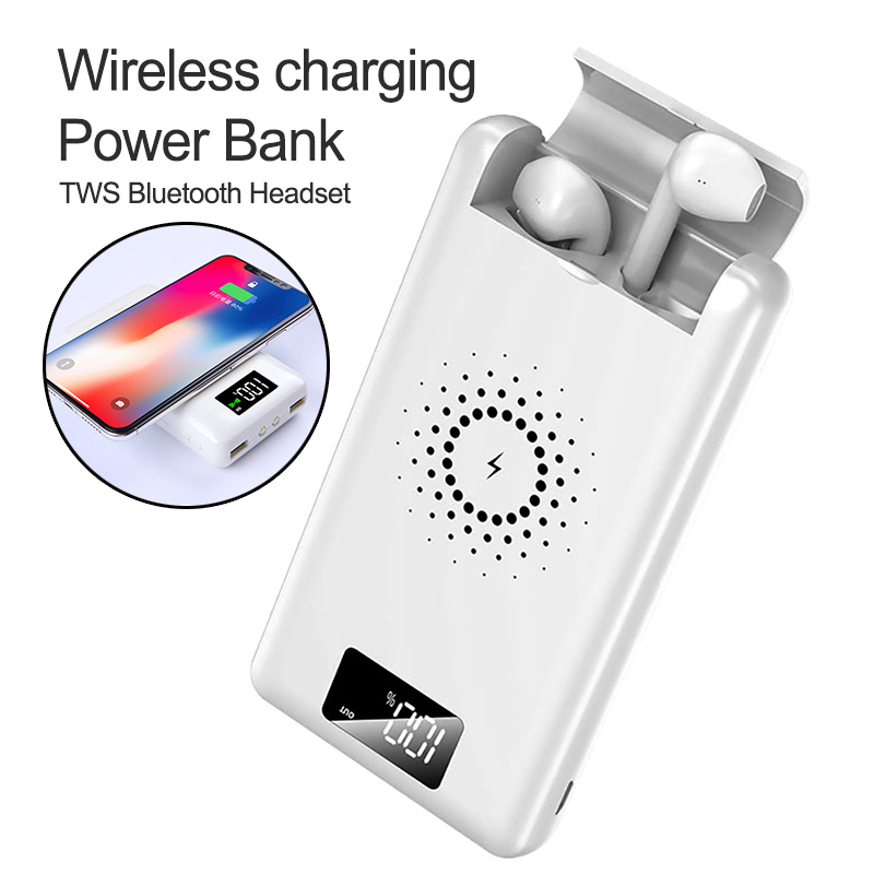 Multi-function  3 In 1 QI Wireless Charger Power Bank For IPhone X XS Max XR Potable  Fast Charger For Bluetooth Earphone
