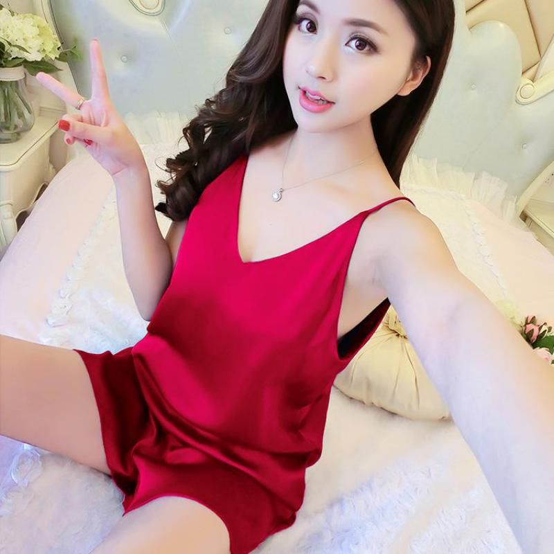 c66fff274c29d 2017 Women Pijamas Set Sexy Sleepwear Rayon Silk Lace V-neck Spaghetti  Strap Shorts Homewear Pijama ...