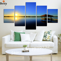 5 Panel Modern Sea Wave Painting Pictures Homd Decor Cuadros Wall Art Ocean Sunset Painting Canvas