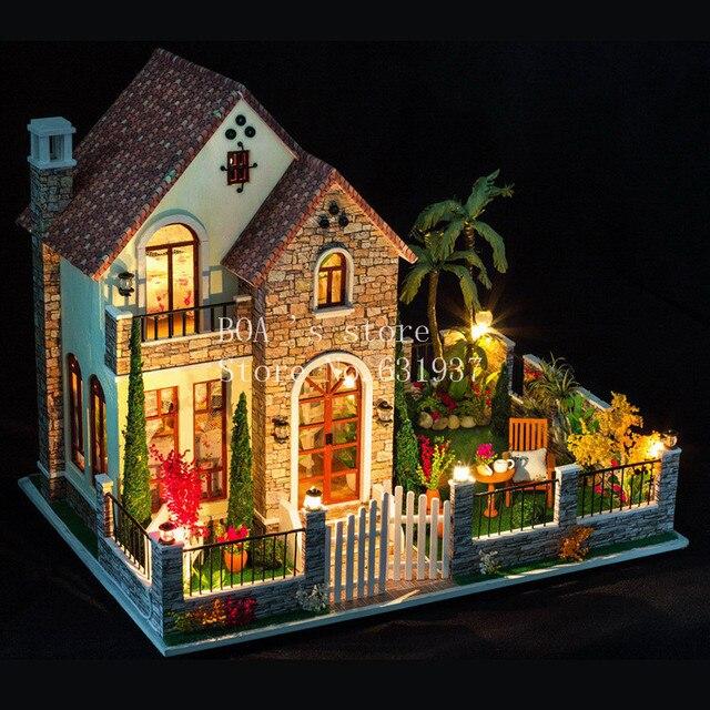 Us 83 98 Diy Hauser Liebe Wohnung Kreative Kabine Modell Montieren Holz Miniatur Puppenhaus Weihnachten Geschenke Puppenhaus Mobel Spielzeug In Diy