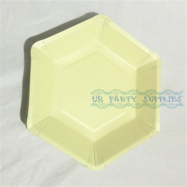 Free Shipping 100pcs Light Yellow Paper Plates Beige Party Dinner Cake Dessert Serving Dishes Tableware Choose : beige paper plates - Pezcame.Com