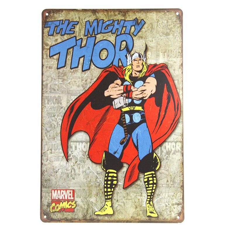 Super Hero Spiderman Batman Hulk Poster Chic Home Decor Vintage Tin Metal Signs Wall Plaque Bar Pub Decorative Plates 20x30cm 2