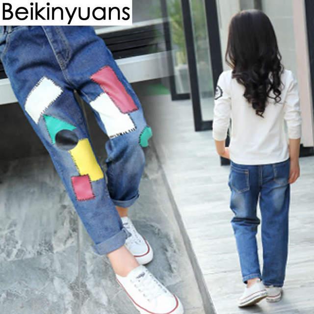 5da095009a44 Online Shop Children s Trousers Pants Big Girls Patch Korean Version ...
