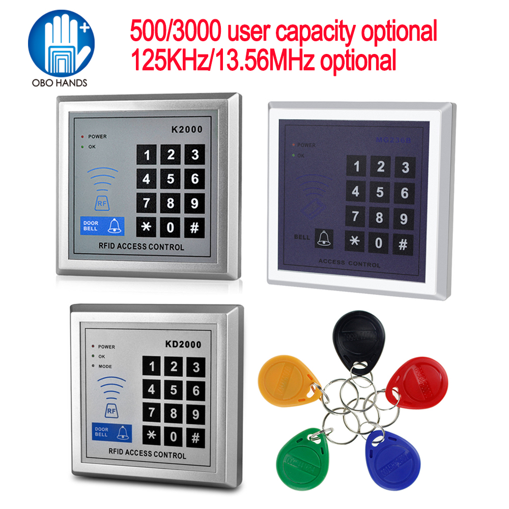 US $9 49 15% OFF|125KHz/13 56MHz RFID Standalone Access Control Board with  10 Mifare keyfobs EM Card Reader Door Lock For Entry Security System-in