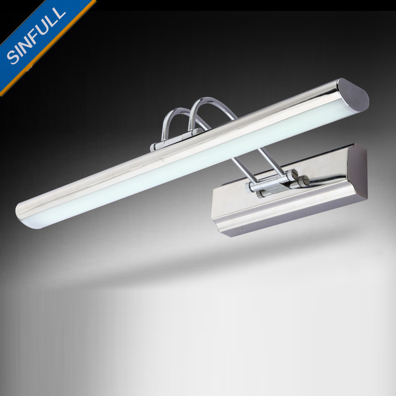 Modern Simple LED Stainless Steel Bathroom Lamp Waterproof LED Mirror Front Light Mirror Case Antirust Wall Lights AC90-260V rotatable flexible modern led bathroom mirror light stainless steel wall lamp for home living lights