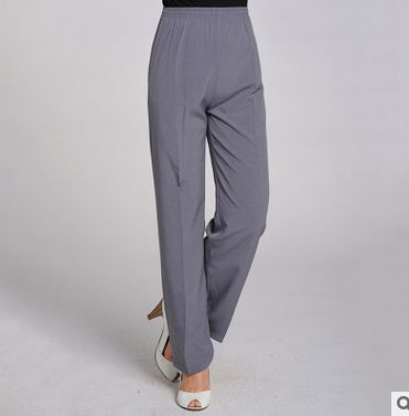 100% of crepe DE chine elastic thin waist straight canister full length of pants