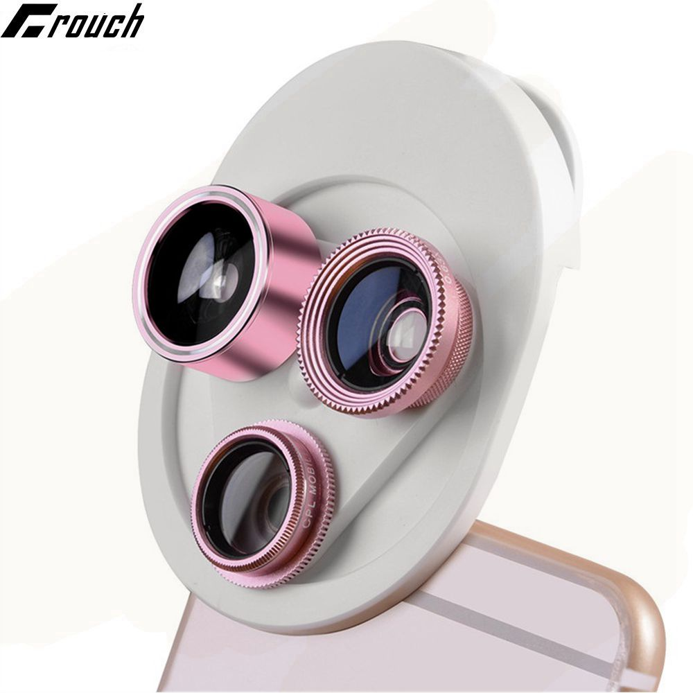 Crouch Lens 4 in 1 Mobile Phone Lens Fish Eye Wide Angle Macro Camera Lenses For Iphone 8 7 6s plus Xiaomi Redmi Huawei Samsung