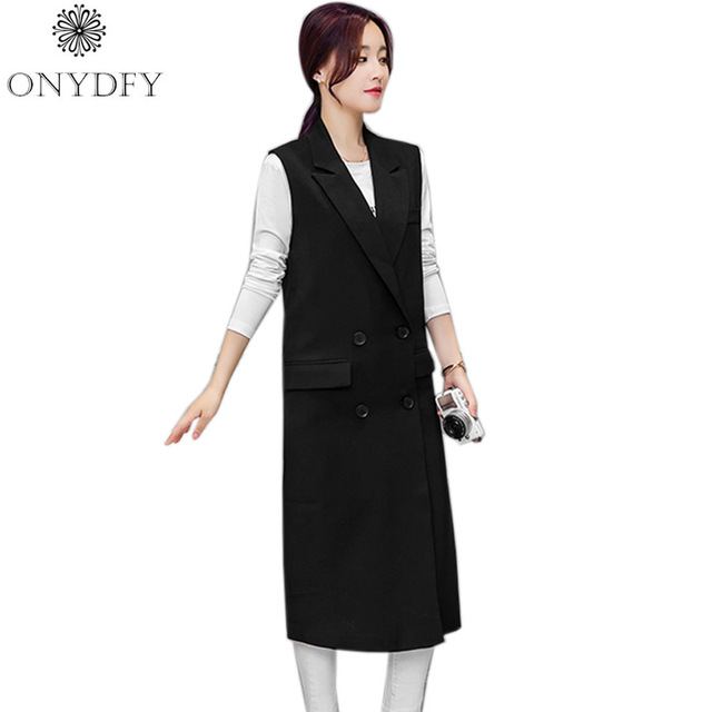 Women Black Long Vest Coat 2017 European Style Double Breasted Waistcoat Sleeveless Jacket Outwear Casual Tops Roupa Female