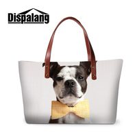 Dispalang 3D printing gentlemen dog with tie shoulder bags for women brand designer top handle bag for girls lady shopping totes